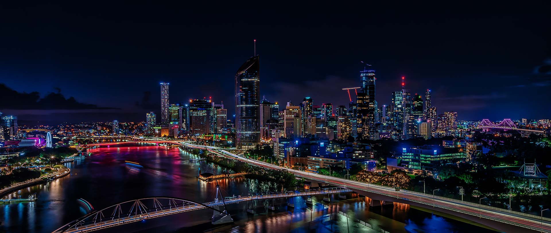 Brisbane city illuminated at night